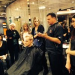 Antonino stylists learning new barbering techniques